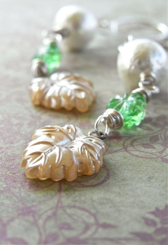 On Sale - Earrings - sterling, silver, vintage glass, cotton, pearl, pearlised, leaves  - Softly, Softly