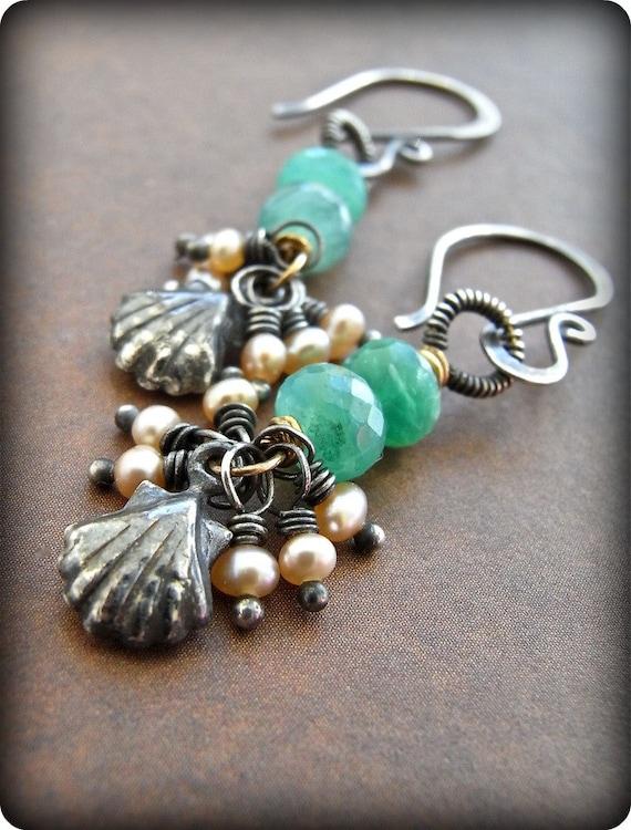 Earrings - sterling silver, Peruvian opal, goldfill, freshwater pearl - Black Lip Shell