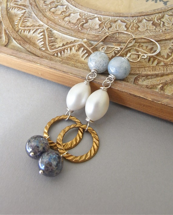 On Sale - Earrings - sterling silver, vintage lucite, vintage Swarovksi, vintage brass, wire wrapped - Viareggio