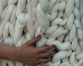 Giganto-Blanket - SALE - ready to ship - huge hand-knit blanket made from wool roving