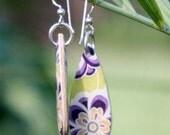 Purple Flower Power Earrings - Teardrops