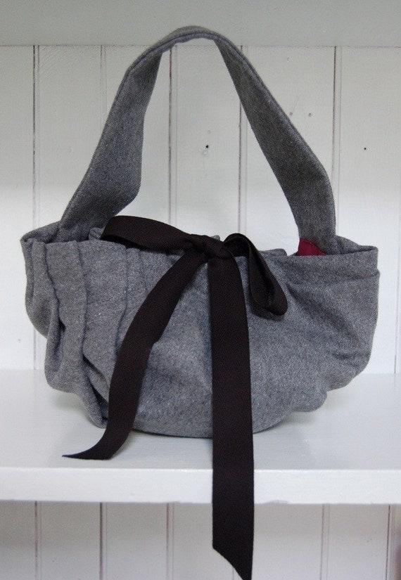 The Angeline Handbag  in Grey Wool with Silk