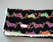 Dachshund Burp Cloth - Cream Minky Dot