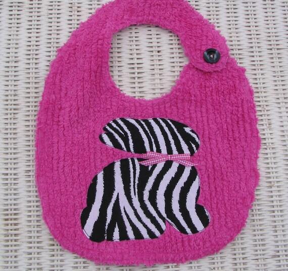 HOT PINK Zebra Bunny Bib-Etsykids