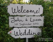 Vintage WEDDING SIGN PACKAGE, 3 Signs, 24x7.5, 5 Foot Stake Included, Shabby Chic Wedding
