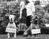 SAVE the DATE Sign Set for the DOGS , Vintage Photography , Photo Props , Vintage Wedding Signs
