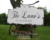 Custom NAME SIGN, Vintage Signs, ESTABLISHED Name Sign, Vintage Modern Decor, Wedding Gift, Bridal Shower, Shabby Chic Wedding Sign, 30 x 16