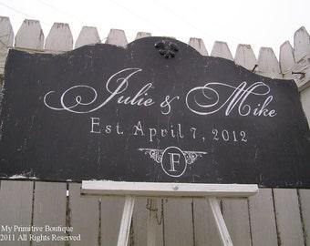 Custom NAME SIGN, Distressed Black, Vintage Signs, ESTABLISHED Name Sign, Vintage Modern Decor, Shabby Chic Wedding Sign, 30 x 16