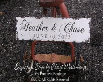Custom WEDDING SIGN, Name Sign, 24 x 7.5, Vintage Wedding Sign, Established Sign, ANNIVERSARY Sign, Bridal Shower gift, Shabby Chic Sign