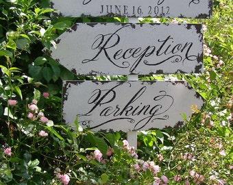 Vintage Wedding Sign Package. 3 Signs. Wedding Sign. Wedding Decor. Rustic Wedding. Wedding Ceremony. Wedding Reception.