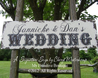 VINTAGE WEDDING SIGN, Personalized Wedding Sign, This Way To The Wedding Sign, Custom Wedding Sign, My Primitive Boutique, Western
