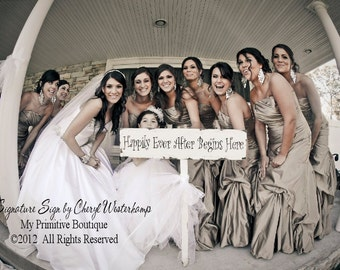 Happily Ever After Begins Here. Wedding Sign. Rustic Wedding. Wedding Ceremony. Flower Girl Sign. Ring Bearer Sign. Photo Props.