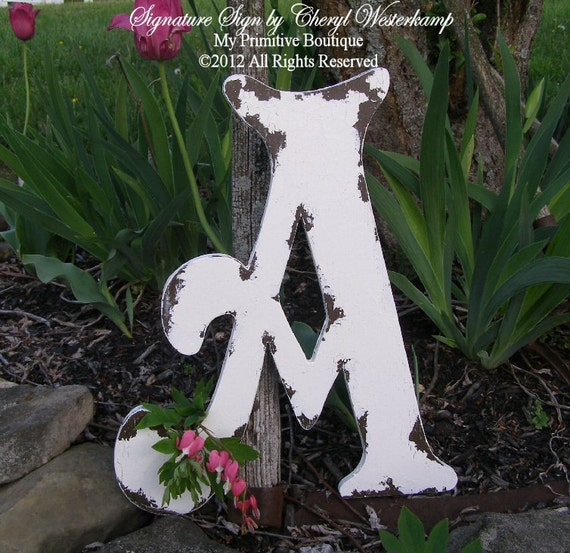 "Distressed WOODEN LETTER A, Cottage Decor, Cottage Signs, 16"" Tall"