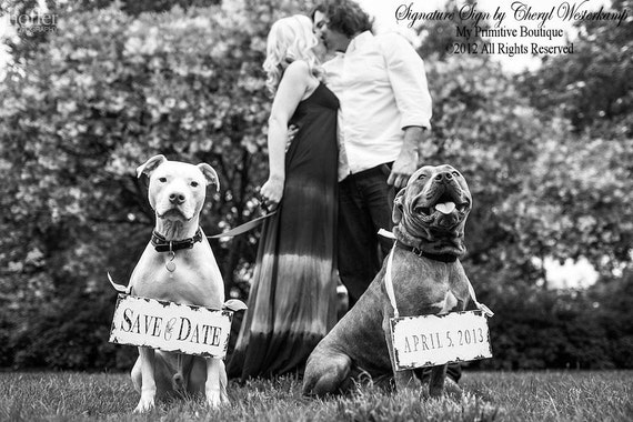 Save The Date Signs for the Dogs. Photo Props. Rustic Save The Date. Wedding Sign. Rustic Wedding.