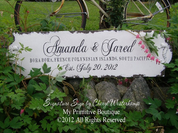 BEACH WEDDING SIGN with Seahorse Design, Vintage Wedding Sign, Shabby Chic Custom Name Sign, Sea Horse, 36 x 10