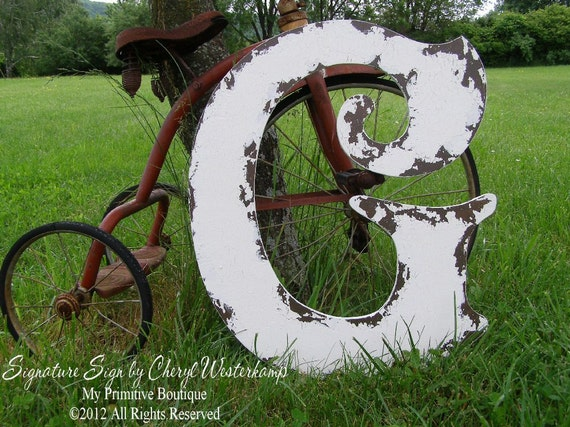 LARGE WOODEN LETTER G, 2 Feet Tall, Cut Out Letter, Shabby Chic Home Decor, Vintage Sign, Monogram, Guest Book Idea