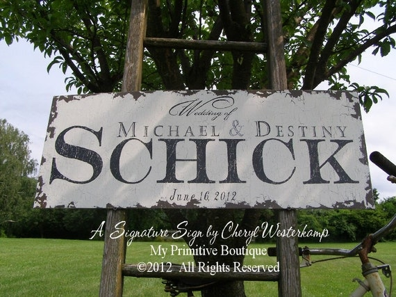 Custom WEDDING SIGN, Wedding of Sign, Shabby Chic Wedding Sign, Vintage Wedding Sign, Mr and Mrs Sign, Established Sign, Rustic Sign, 30x12