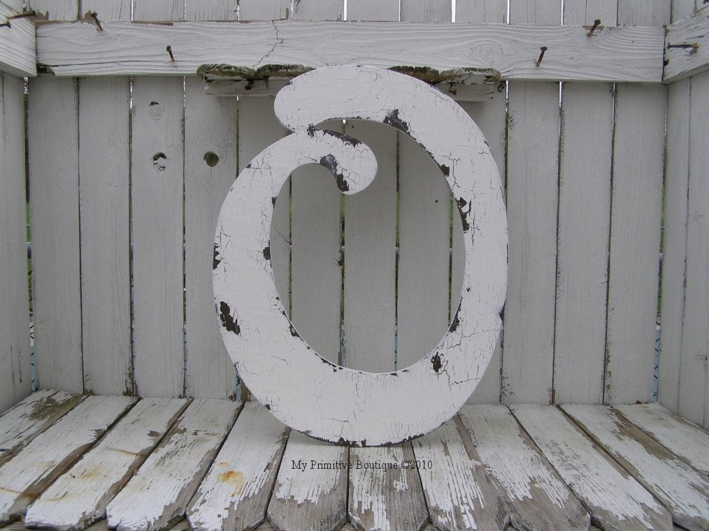 Letter O Shabby Chic Letters Vintage Home by MyPrimitiveBoutique