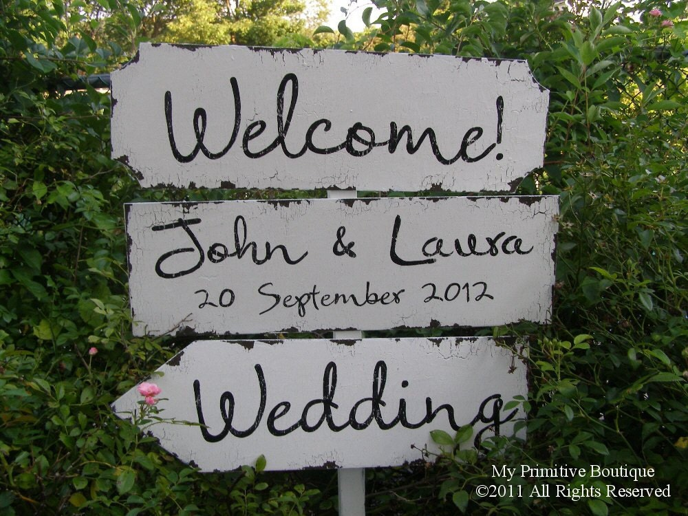 Vintage WEDDING SIGN PACKAGE 3 Signs 24x7.5 By