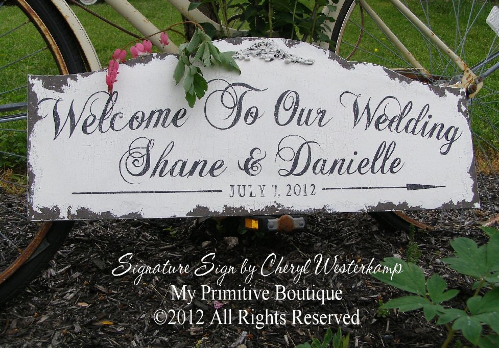Custom Wedding Sign Welcome To Our Wedding By Myprimitiveboutique