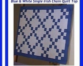 Royal Blue White 9 Patch HANDMADE HOMEMADE Baby Crib Lap Single Irish Chain Quilt Top FREE Ship