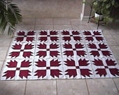 12 HUGE Turkey Red Burgandy and white Bear Paws Cotton Quilt Top Blocks