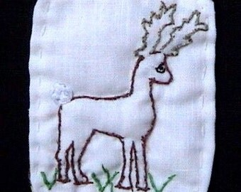 Oh Deer - Reindeer Brooch - Hand Embroidered -Year round use Was 20.00 now 14.95 Buy it Today