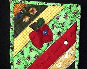 Appliqued apple quilted crazy string pieced potholder (B) - SALE -was 19.50. Now only 9.99. Buy it today!