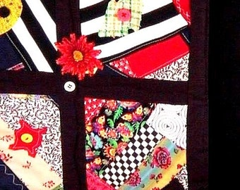 Black White Red all Over - Wallhanging Little Mini Quilt --  Was 45.00  Now only 25.99  -Free ship*- SALE - BUY It TODAY