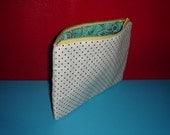 white polka dot & leafy pouch