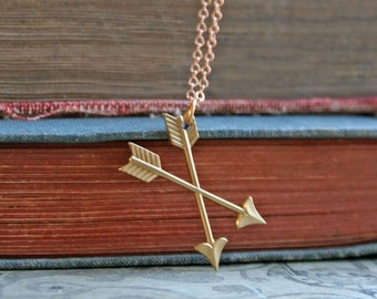 Cross Arrows / Brass Necklace /  Archery Necklace / Modern / Simple