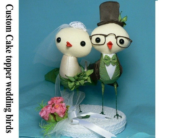 Custom cake topper Bride and Groom wedding birds with base