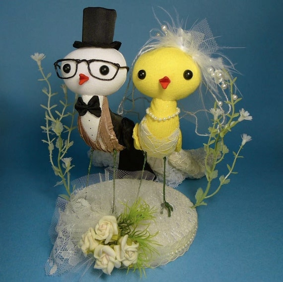 wedding birds cake topper with base - black and ivory