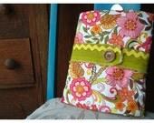 Solstice Winter Baby Blanket - Pink Flowers - 30 x 38 - OOAK