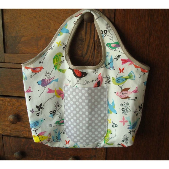 Fall Sale 10% Off  - Big Reversible Tote  Bag - June Song Birds and Flowers
