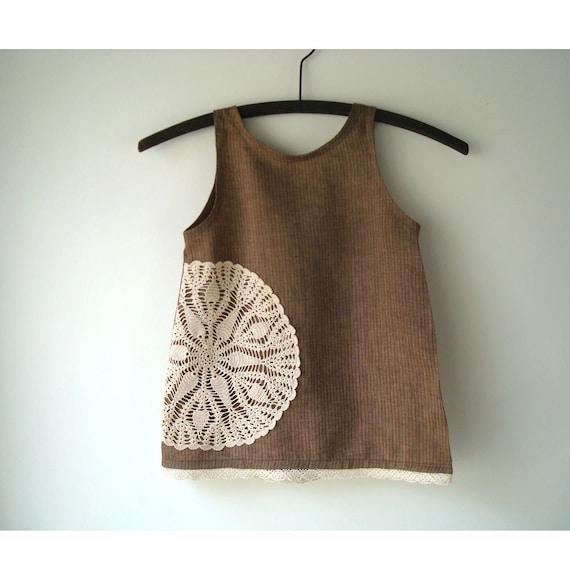 Custom Order Size Linen and Doily Dress - Doily Sundress -  Size 1 to 4