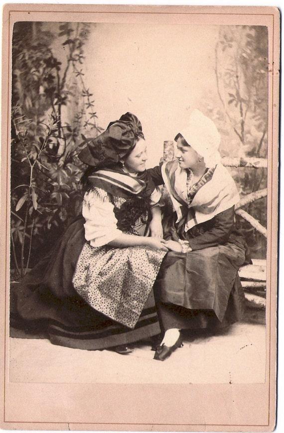 Antique Cabinet Card - Gentle Embrace / Lesbian Interest