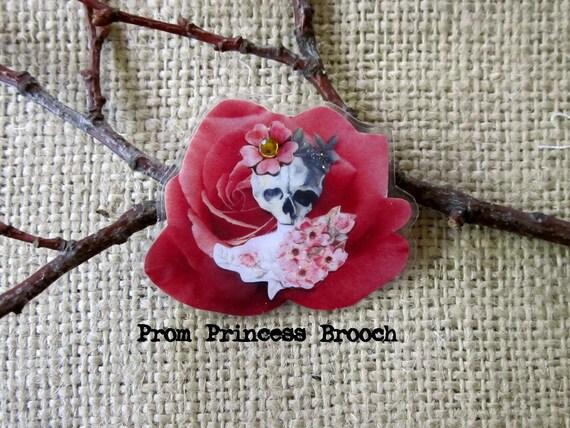 Brooch - Skull Girl Prom Princess on a Rose