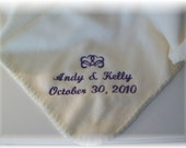PERSONALIZED WEDDING THROW / BLANKET WITH HEARTS