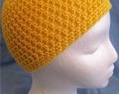 Yellow Cotton BEANIE SKULL HAT In Crochet