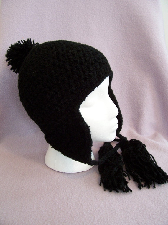Black SKI SNOWBOARD HAT With Ear Flaps In Crochet