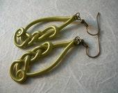 Ear Art for the Modern Celt- Celtic knot earrings in green