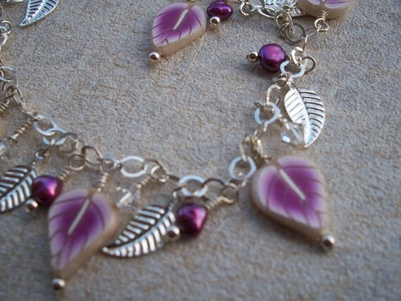 Lilac Leaves Sterling silver and pearls charm bracelet