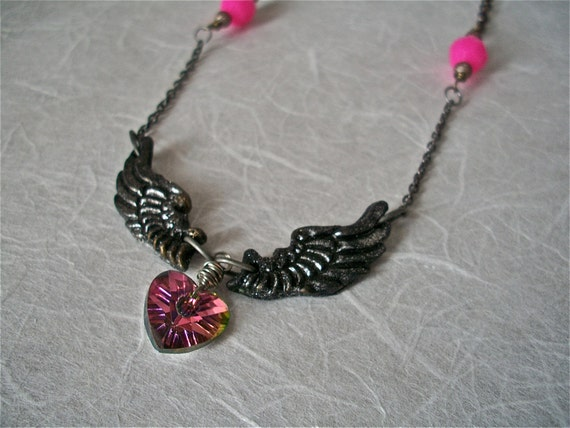 Wings of Love- a Raven-winged-heart art jewelry necklace in pink and black