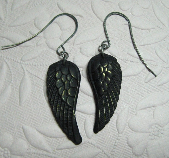 Crow's wing earrings - matte black with GOLD detail Raven black bird gothic jewelry