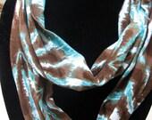 Jersey knit tye dye T shirt Cotton Circle Infinity Scarf blues