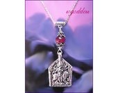 DURGA sterling silver and ruby in quartz slide necklace by srgoddess