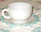Vintage 1950's Hazel Atlas Ripple cup and saucer