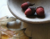 rusted iron and wool - felted acorns in brick red - set of 3