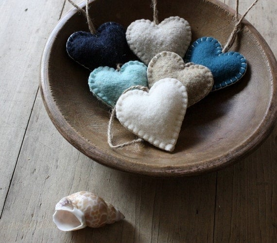 upcycled wool heart ornaments - seaside - set of 6